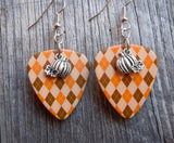 Pumpkin Charm Guitar Pick Earrings - Pick Your Color