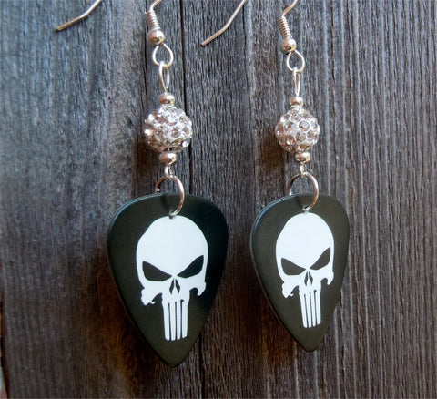 Punisher Guitar Pick Earrings with White Pave Beads