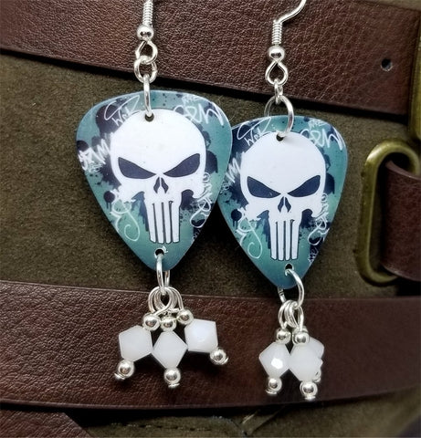 Punisher Guitar Pick Earrings with White Alabaster Swarovski Crystal Dangles