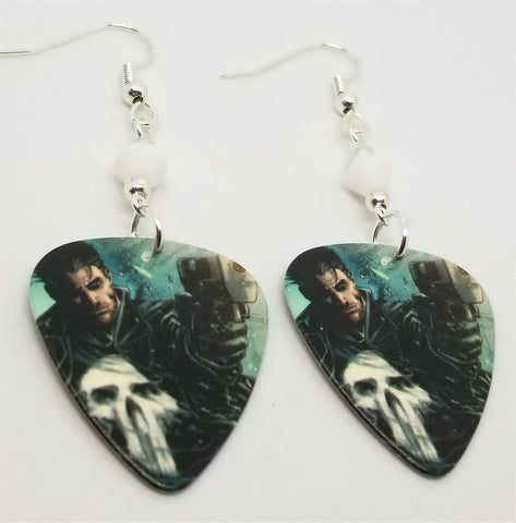 Punisher Guitar Pick Earrings with White Swarovski Crystals