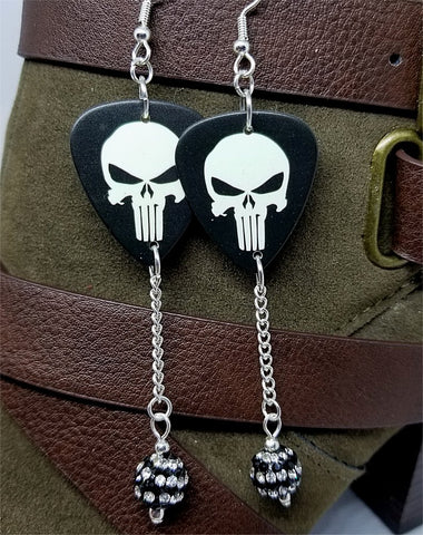 Punisher Guitar Pick Earrings with Black and White Striped Pave Bead Dangles