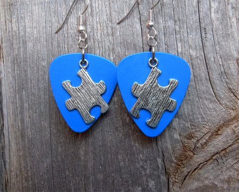 Puzzle Piece Charm Guitar Pick Earrings - Pick Your Color - Autism Awareness