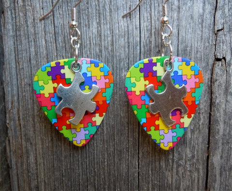 Puzzle Piece Charm on Autism Awareness Guitar Pick Earrings