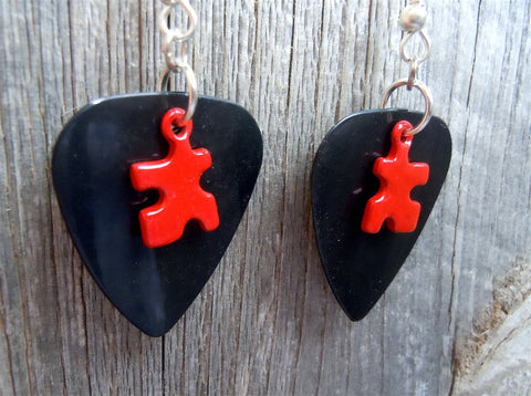 Colored Puzzle Piece Charm Guitar Pick Earrings - Pick Your Color - Autism Awareness