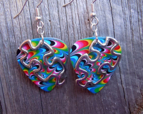 Puzzle Piece Outline Charm Guitar Pick Earrings - Pick Your Color - Autism Awareness
