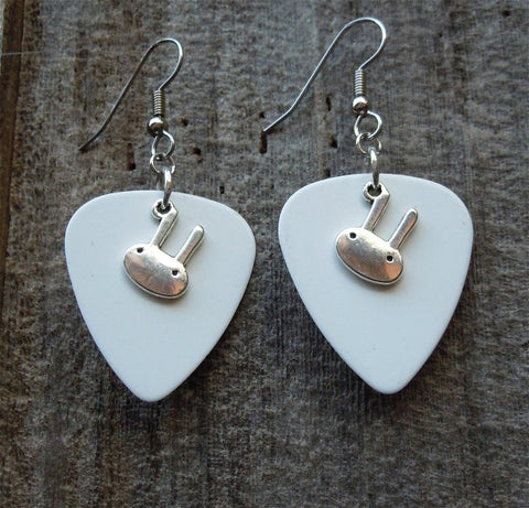 Bunny Head Charm Guitar Pick Earrings - Pick Your Color
