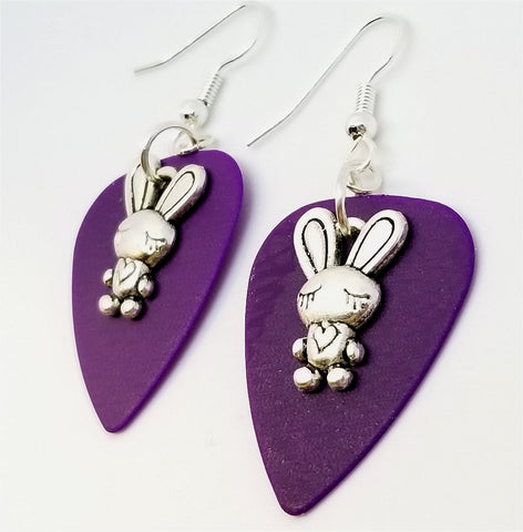 Bunny with Heart Charm Guitar Pick Earrings - Pick Your Color