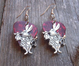 Alice in Wonderland White Rabbit Charm Guitar Pick Earrings - Pick Your Color