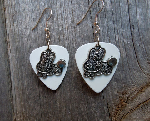 Bunny Charm Guitar Pick Earrings - Pick Your Color