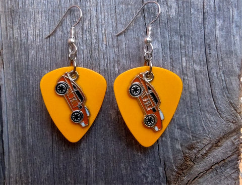 Orange Muscle Car Charm Guitar Pick Earrings - Pick Your Color