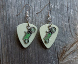 Green Retro Race Car Charm Guitar Pick Earrings - Pick Your Color