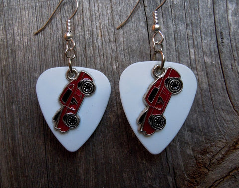 Red Muscle Car Charm Guitar Pick Earrings - Pick Your Color
