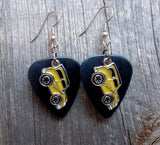Yellow Retro Car Charm Guitar Pick Earrings - Pick Your Color