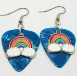 Colored Rainbow Charm Guitar Pick Earrings - Pick Your Color