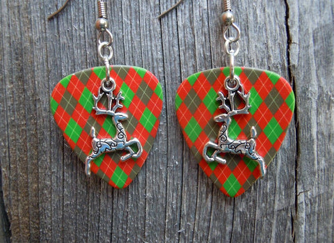 Reindeer Charm Guitar Pick Earrings - Pick Your Color