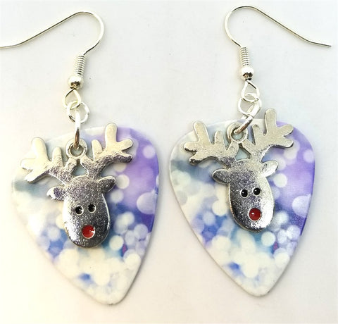 Reindeer Head Charm Guitar Pick Earrings - Pick Your Color