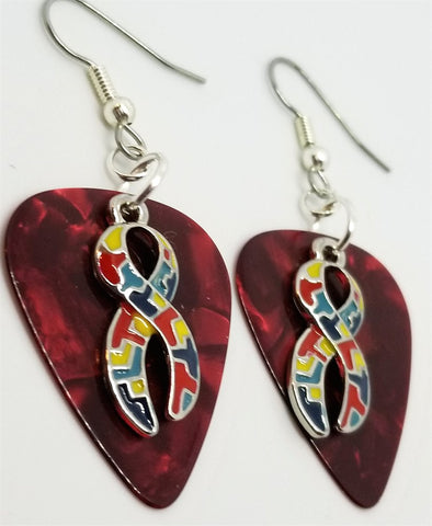 Autism Awareness Ribbon Charm Guitar Pick Earrings - Pick Your Color
