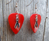 Black Ribbon Charm Guitar Pick Earrings - Pick Your Color
