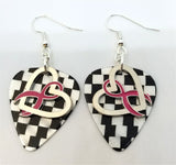 Fuchsia Ribbon on a Heart Charm Guitar Pick Earrings - Pick Your Color