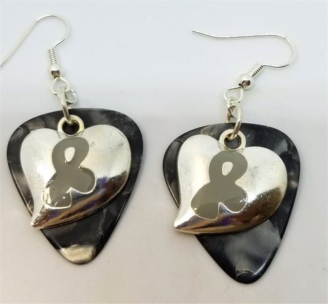 Gray Ribbon on a Heart Charm Guitar Pick Earrings - Pick Your Color
