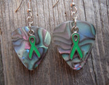 Green Ribbon Charm Guitar Pick Earrings - Pick Your Color