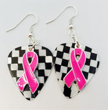 Hot Pink Ribbon Charm Guitar Pick Earrings - Pick Your Color