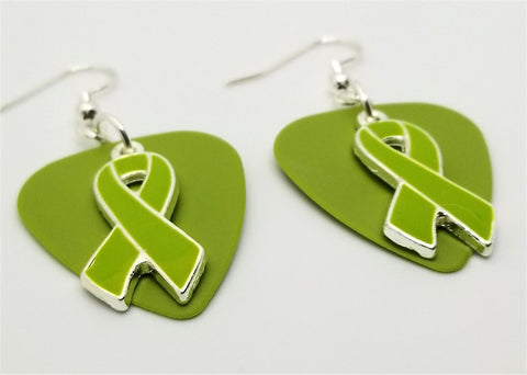Lime Green Ribbon Charm Guitar Pick Earrings - Pick Your Color