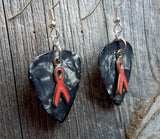 Orange Ribbon Charm Guitar Pick Earrings - Pick Your Color