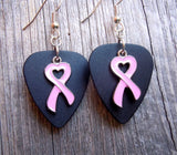 Pink Heart Ribbon Charm Guitar Pick Earrings - Pick Your Color
