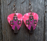 Pink Ribbon Cross and Hope Charm and Guitar Pick Earrings - Pick Your Color
