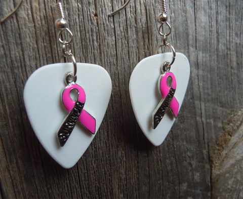Pink Ribbon Survivor Charm and Guitar Pick Earrings - Pick Your Color