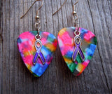 Purple Ribbon Charm Guitar Pick Earrings - Pick Your Color