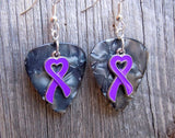 Purple Ribbon Heart Charm Guitar Pick Earrings - Pick Your Color