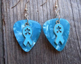 Aqua Ribbon with Puzzle Piece Cut Out Charm Guitar Pick Earrings - Pick Your Color - Autism Awareness