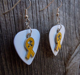 Yellow Ribbon with Puzzle Piece Cut Out Charm Guitar Pick Earrings - Pick Your Color - Autism Awareness
