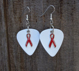 Red Ribbon Charm Guitar Pick Earrings - Pick Your Color