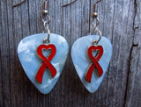 Red Ribbon Heart Charm and Guitar Pick Earrings - Pick Your Color