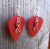 Red Rhinestone Ribbon Charm Guitar Pick Earrings - Pick Your Color