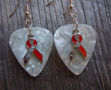 Red Ribbon Survivor Charm and Guitar Pick Earrings - Pick Your Color