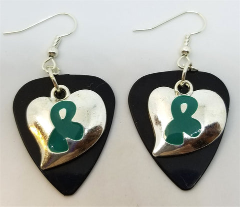 Teal Ribbon on a Heart Charm Guitar Pick Earrings - Pick Your Color