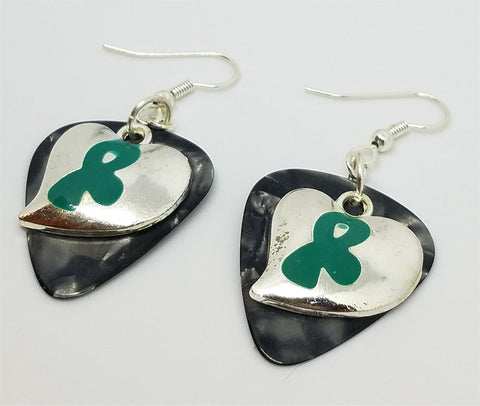 Teal Ribbon With A Heart Charm Guitar Pick Earrings - Pick Your Color