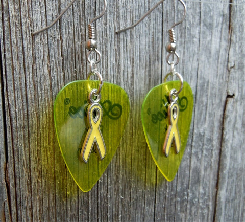 Yellow Ribbon Charm and Guitar Pick Earrings - Pick Your Color