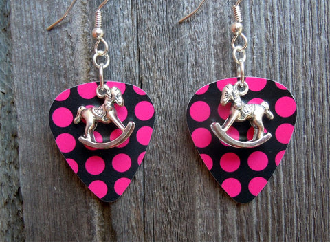 Rocking Horse Charm Guitar Pick Earrings - Pick Your Color