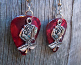 Rose Charm Guitar Pick Earrings - Pick Your Color