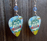 Route 66 Guitar Pick Earrings with Blue Swarovski Crystals