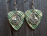 Sailboat Inside a Rope Circle Charm Guitar Pick Earrings - Pick Your Color