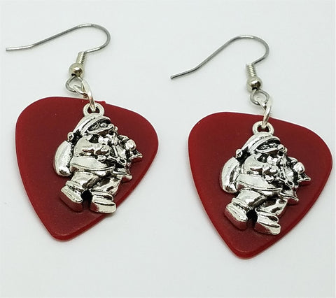 Santa Claus Charm Guitar Pick Earrings - Pick Your Color