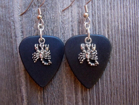 Scorpion Charm on Black Matte Guitar Pick Earrings