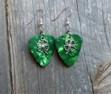Shamrock Outline Charm Guitar Pick Earrings - Pick Your Color