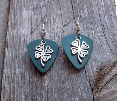 Shamrock Charm Guitar Pick Earrings - Pick Your Color